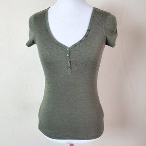 Old Navy Perfect Henley Green T-Shirt